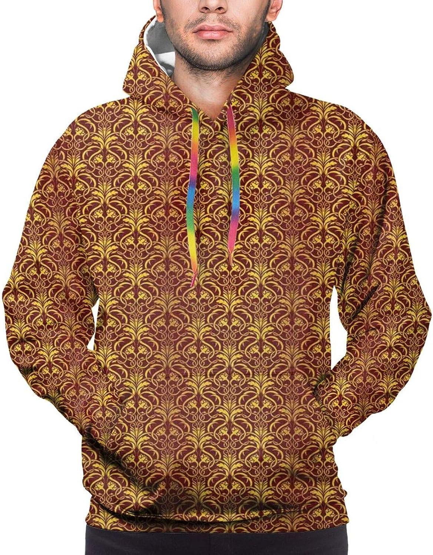 Men's Hoodies Sweatshirts,Interlaced Curvy Leaves Design As Venetian Style Floral Petals