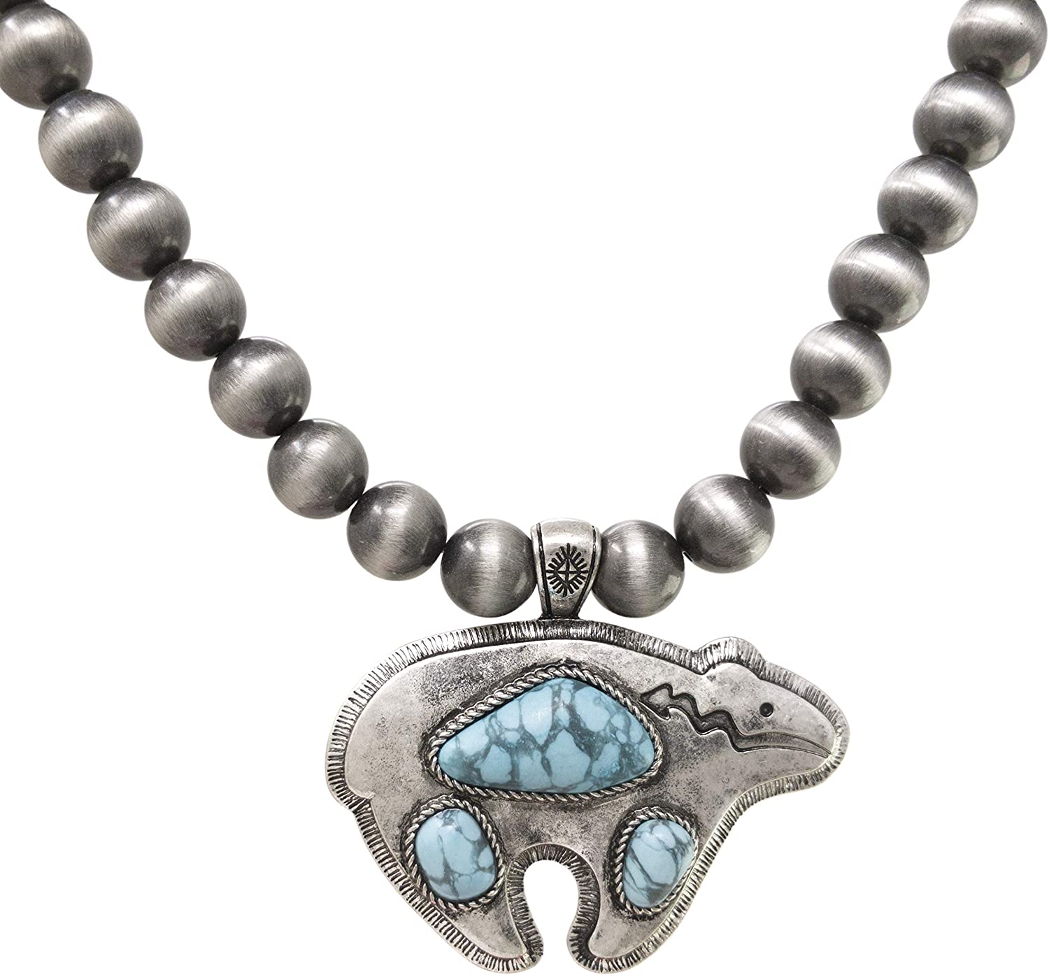 Elosee Turquoise Stone Native American Bear Pendant Native Pearls Necklace 18 Inch