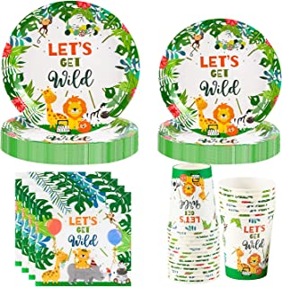 Larchio 100pcs Jungle Safari Plates Cups Napkins, Wild One Party Supplies with Wild Party Plates, Napkins, Cups for Jungle...