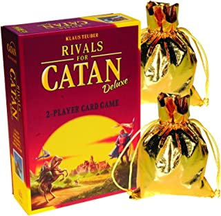 RIVALS for CATAN Deluxe 2 Player Card Game _ Bonus 2 Gold Metallic Cloth Drawstring Storage Pouches _ Bundled Items