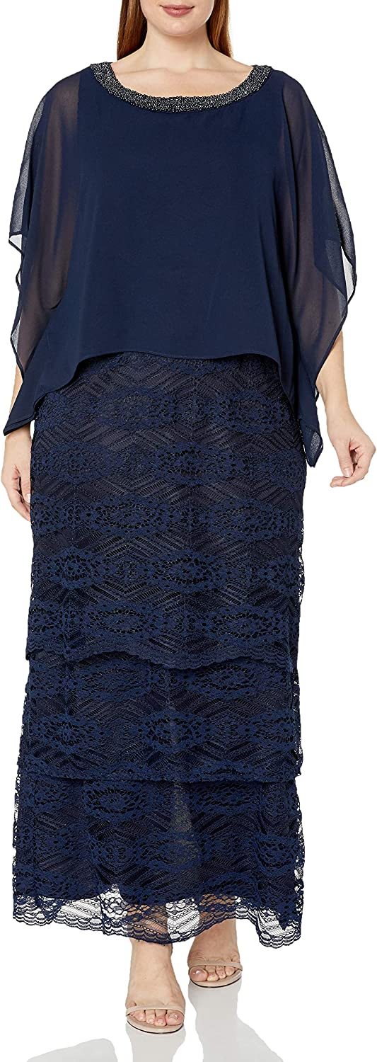 Le Bos Women's Plus Size Embellished Neckline Poncho Tiered Long Dress
