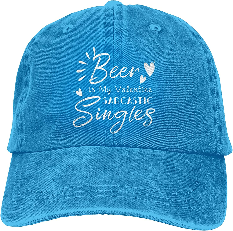 Beer is My Valentine Sarcastic Singles Baseball Cap Trucker Hat Retro Cowboy Dad Hat Classic Adjustable Sports Cap for Men&Women Blue