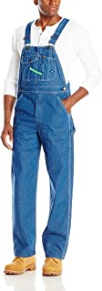 Key Men's Big & Tall High Back Bib Overall, Indigo Denim Enzyme Wash, 56W x 30L