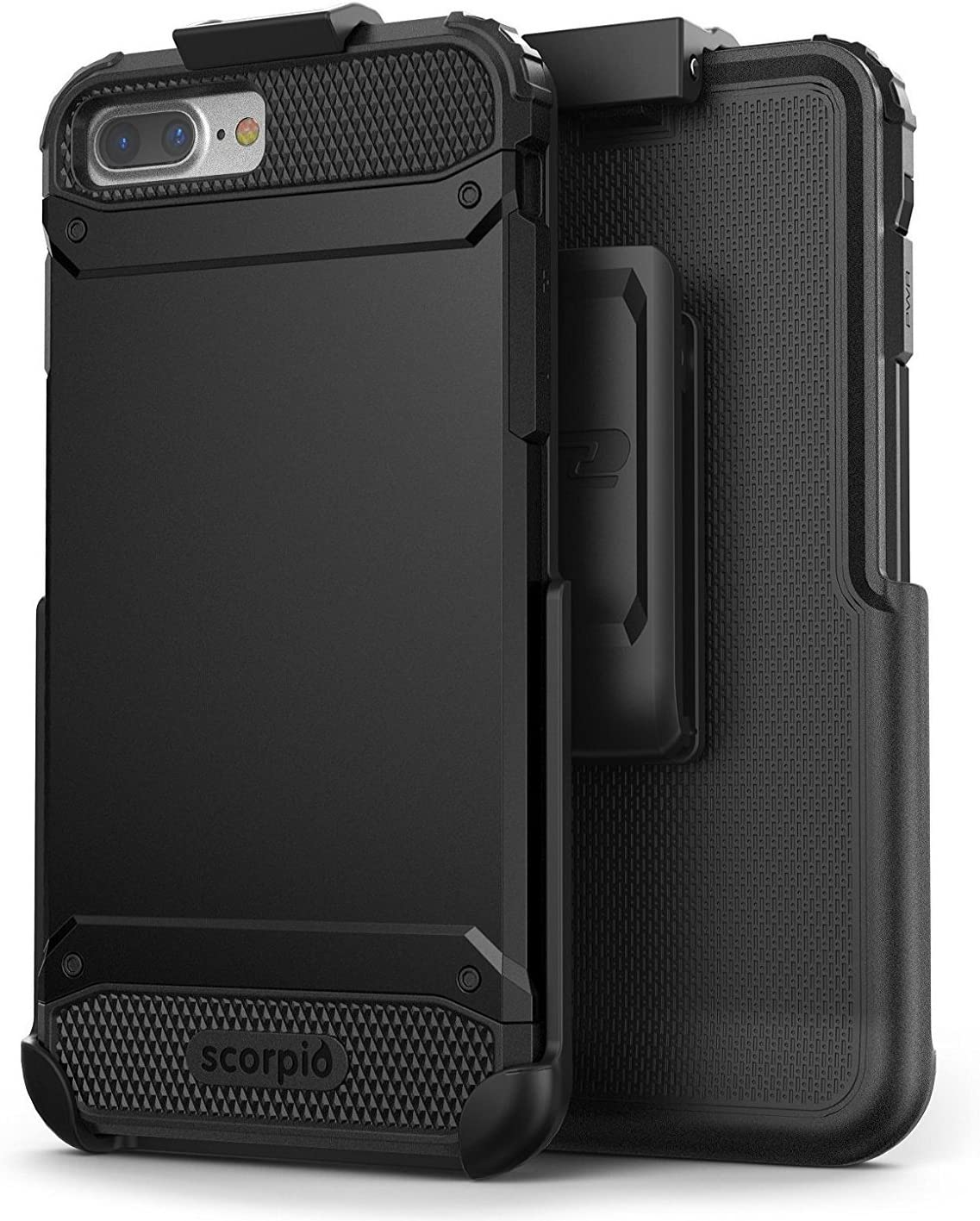 Encased UE Armor iPhone 8 Plus Belt Case Holster Clip Dual Layer Protective Combo - Compatible with Apple iPhone 8 Plus 5.5inch (R7 Black)