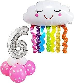 KREA Juego de centro de mesa con globos de números inflables para cumpleaños de 6 años, color rosa con forma de nube, decoración creativa, para niños y adultos, instrucciones en italiano