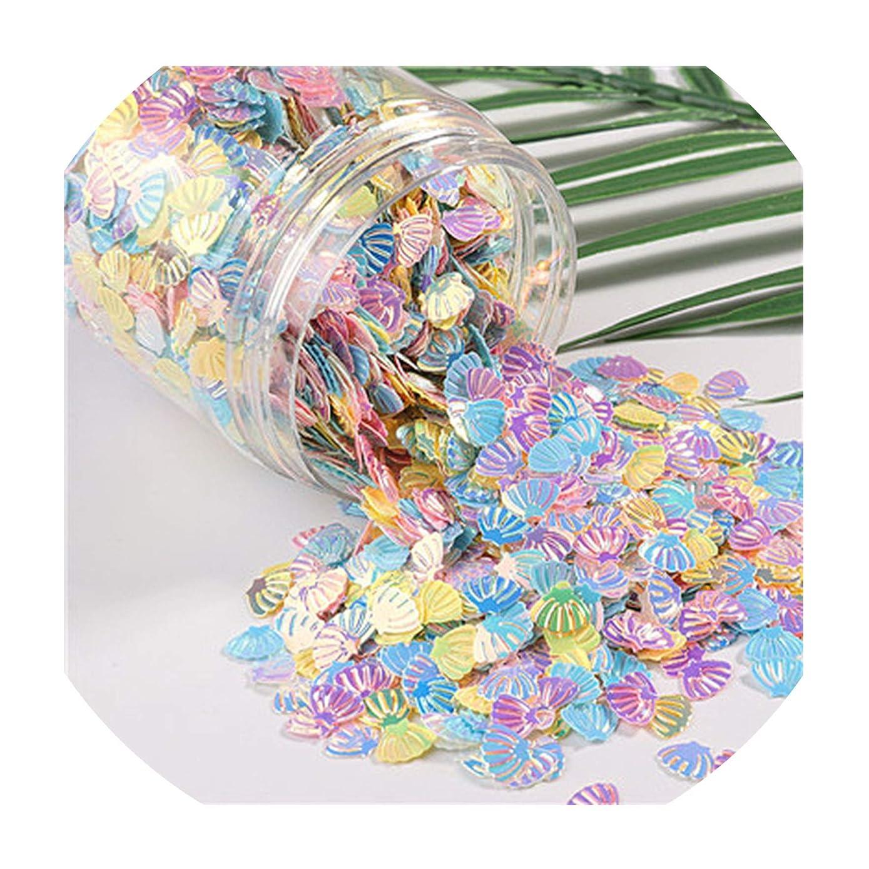 不均一しないポータル10グラム/パックミックスマカロンカラー ネイルスパンコール クラフト キラキラ スターハート さくらスパンコール DIY マニキュアネイルアート 装飾,7mm Shell