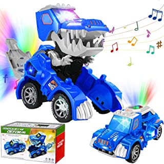 AMENON Transforming Dinosaur Led Car Toys with Colorful Lights 2 Kinds Music Sound Automatic Deformation Dino Race Car Toys for Kids Boys Girl Toddler 3 Year Old and Up Birthday Holiday Toy Gifts