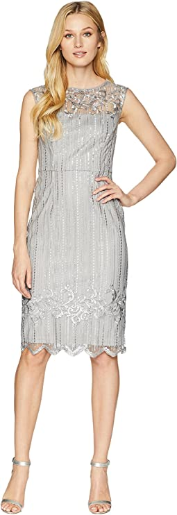 Stretch Bead Cocktail Dress with Embroidered Detail
