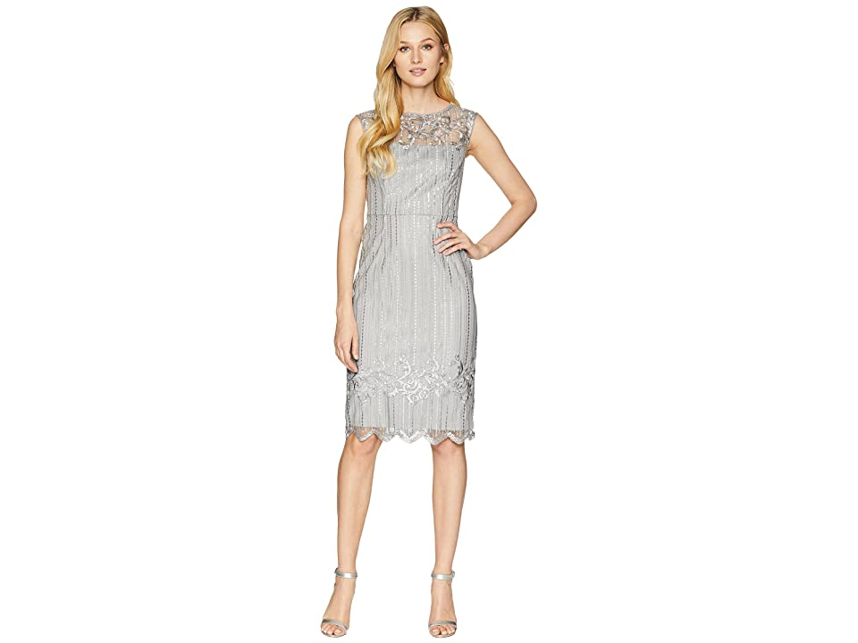 Adrianna Papell Stretch Bead Cocktail Dress with Embroidered Detail (Silver) Women