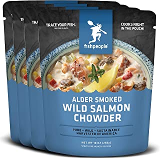 Fishpeople Alder Smoked Wild Salmon Chowder, 10 ounce (4 pack), Microwaveable, Gluten-Free, 12g protein, Omega-3s, BPA-free, Ready to Eat, Wild-Caught, Sustainable Seafood Soup