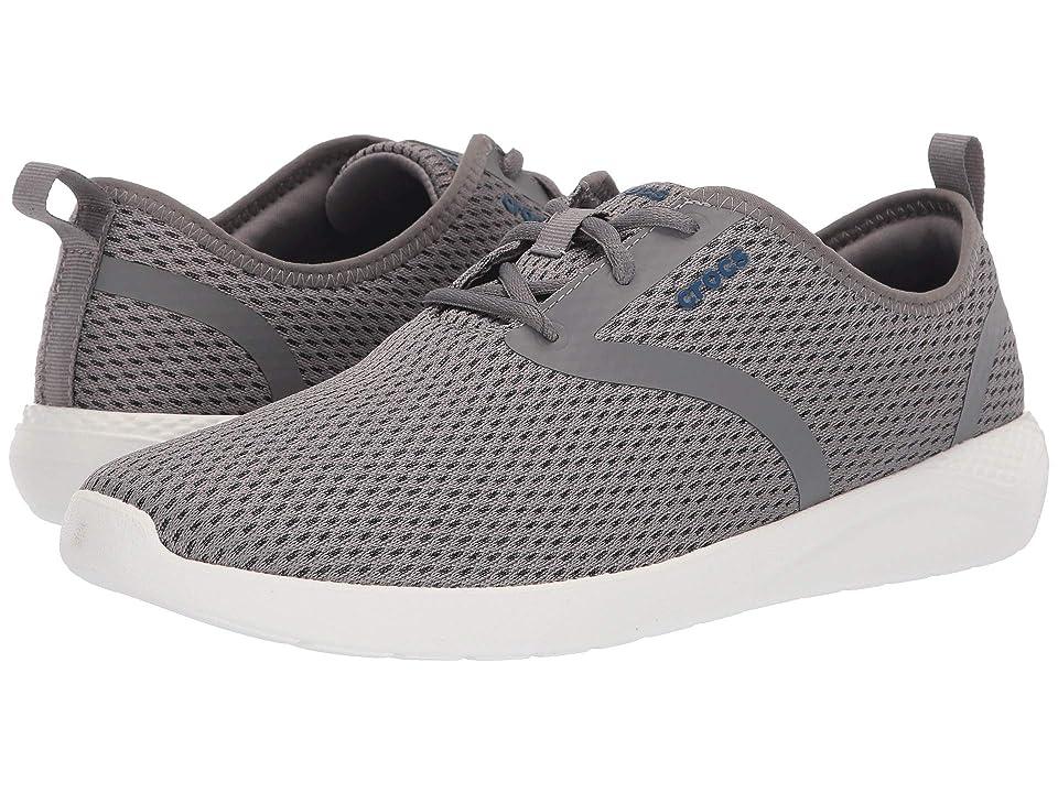 Image of Crocs LiteRide Mesh Lace (Smoke/White) Men's Shoes