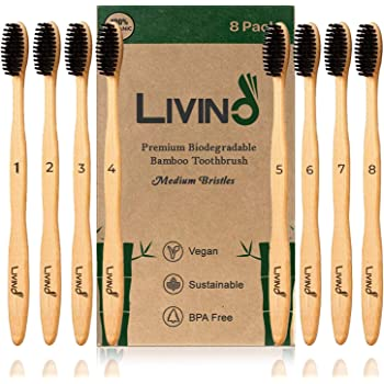 Bamboo Toothbrush (8-Pack) Charcoal Medium Soft BPA Free Nylon Bristles - Natural Wooden Biodegradable Compostable Eco Toothbrushes