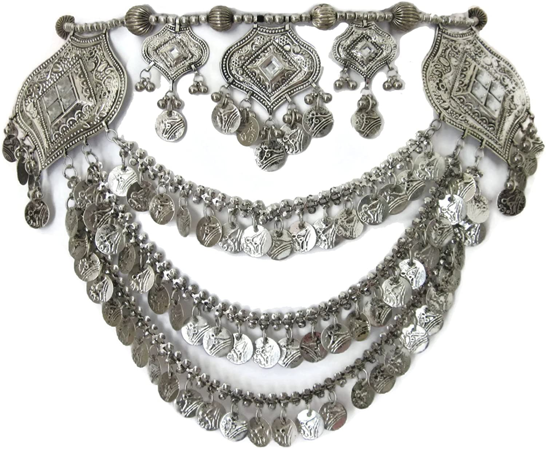 IndiaStop Tribal Boho Metal Coin Chain Womens Belt Handmade Belly Dance Gypsy Hippie Festival Ladies Female Waist Jewelry