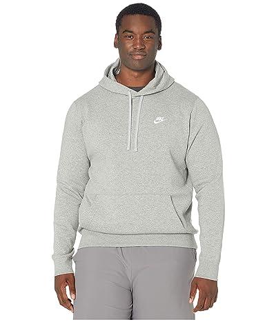 Nike Big Tall NSW Club Hoodie Pullover (Dark Grey Heather/Matte Silver/White) Men