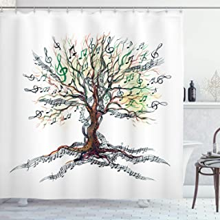 Ambesonne Music Shower Curtain, Musical Tree Autumnal Clef Trunk Swirl Nature Illustration Leaves Creative Design, Cloth Fabric Bathroom Decor Set with Hooks, 70
