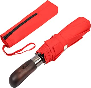 Balios® Prestige Travel Umbrella, Real Wood Handle, Auto Open & Close, Vented Windproof Double Canopy, Designed in UK