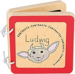 """kleine voet 10862 Baby boek """"Ludwig"""" gemaakt van hout, leert peuters contrasten, speeksel resistent en veilig, vanaf 12 maanden"""