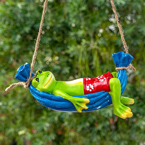 TIED RIBBONS Frog on Hammock Garden Decoration Items for Outdoor Balcony Lounge (21 X 9.5 cm, L X H)