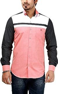 Rapphael Men's Cotton Shirts Full Sleeve (95A,Orange Color)
