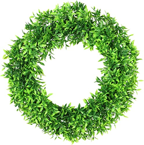 popular Artificial Green Bamboo Leaves Wreath for Front Door Wall outlet online sale Hanging discount Window Wedding Party Decoration Home Decor Easter Spring Wreath,16In outlet sale