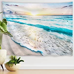 PROCIDA Beach Tapestry Ocean Sea Beach Scene Theme Tapestry Beach Sunset Wave Hawaii Tropical Nature Scenery Tapestry Wall Hanging for Bedroom Living Room Dorm Decor, 90