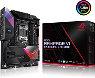 ASUS ROG Rampage VI Extreme Encore EATX Motherboard with Intel LGA 2066, 16 Power Stages, AIOC, M.2, DDR4, Wi-Fi 6 (802.11ax), 10 Gbps Ethernet, SATA, USB 3.2 Gen 2x2 Type-C, Aura Sync RGB Lighting