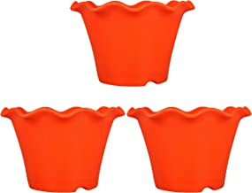 Klassic Plastic Blossom Flower Pot (10-inch, Orange, Pack of 3)