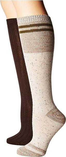 Steve Madden - 2-Pack Knee High Marl Varsity Stripe