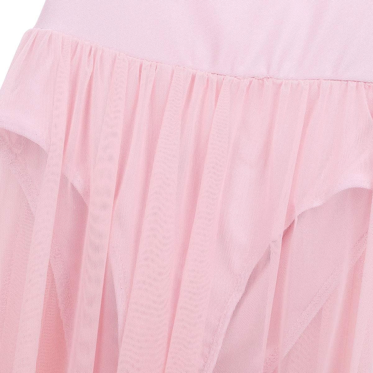 Alvivi Girls Ballet Lyrical Dance Dress Cutout Back Leotard with Irregular High Low Skirt Dancing Costumes