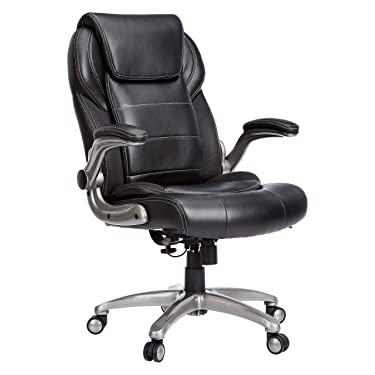 AmazonCommercial Ergonomic High-Back Bonded Leather Executive Chair with Flip-Up Arms and Lumbar Support, Black