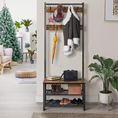 Yaheetech 3-in-1 Hall Tree Coat Rack Shoe Bench with 9 Hooks and Storage Shelf, Industrial Entryway Storage Shelf Bench, Easy