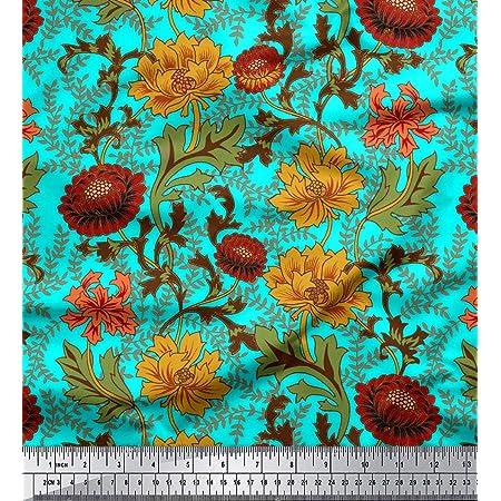 x 1 Yard: 35.4 90cm Fabric Viscose Rayon  Vintage floral pattern 110cm by 1 yard 106584