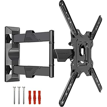 Invision TV Bracket Wall Mount for 22 24 28 32 34 40 43 50 Inch TV & Monitors VESA 100x100 to 400x400 Ultra slim Tilt Swivel and Extends for 4K LED HDR Flat & Curved Screens - Max Load 27.2kg (EV400)