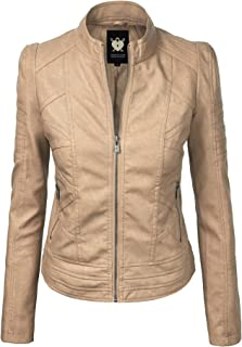 Lock and Love LL WJC746A Womens Vegan Leather Motorcycle Jacket XS Khaki