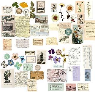 60PCS Papier Cartonné Vintage Scrapbooking DIY 4 Boîtes Pour décoration Bricolage Papeterie Fournitures Papier Journal Eti...