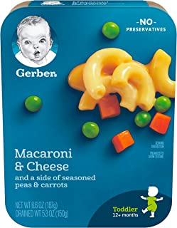 Gerber Graduates Lil' Entrees Macaroni & Cheese with Seasoned Peas & Carrots, 6.6-Ounce (Pack of 8)