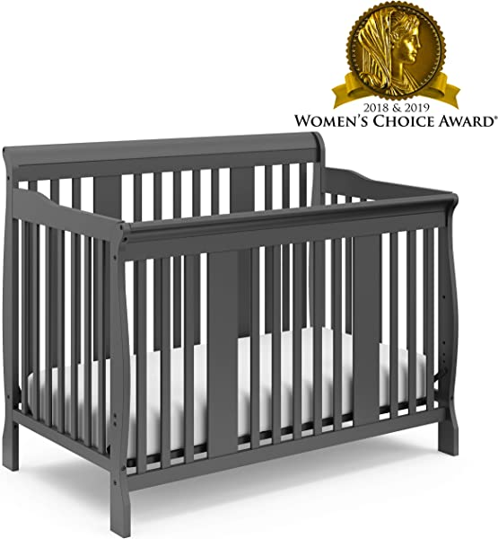 Storkcraft Tuscany 4 In 1 Convertible Crib Gray Easily Converts To Toddler Bed Day Bed Or Full Bed 3 Position Adjustable Height Mattress