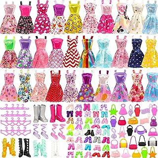 ملابس وإكسسوارات دمية للفتيات من فانلايت 105 قطعة، بما في ذلك 20 فستان عصري ملون، 50 حذاء بنمط متنوع، 15 حقيبة يد، 20 شماع...