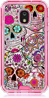 TurtleArmor   Compatible with Samsung Galaxy J3 (2018) Case   J337   Pink Fitted Dual Layer TPU Bumper Case with Flowing Liquid Waterfall Quicksand Glitter Sparkle Bling Hearts - Sugar Skulls