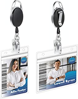 Retractable Badge Holder 2 Pack - ID Reel with Carabiner Keychain Clip - Key Ring with Horizontal and Vertical Holders - Extra Durable Kevlar Pull Cord