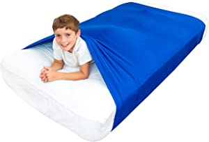 Special Supplies Sensory Bed Sheet for Kids Compression Alternative to Weighted Blankets - Breathable, Stretchy - Cool and Comfortable Sleeping Bedding (Blue, Full)
