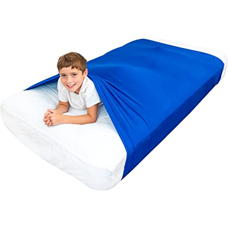 Special Supplies Sensory Bed Sheet for Kids Compression Alternative to Weighted Blankets - Breathable, Stretchy - Cool, Comfortable Sleeping Bedding (Blue, Queen)