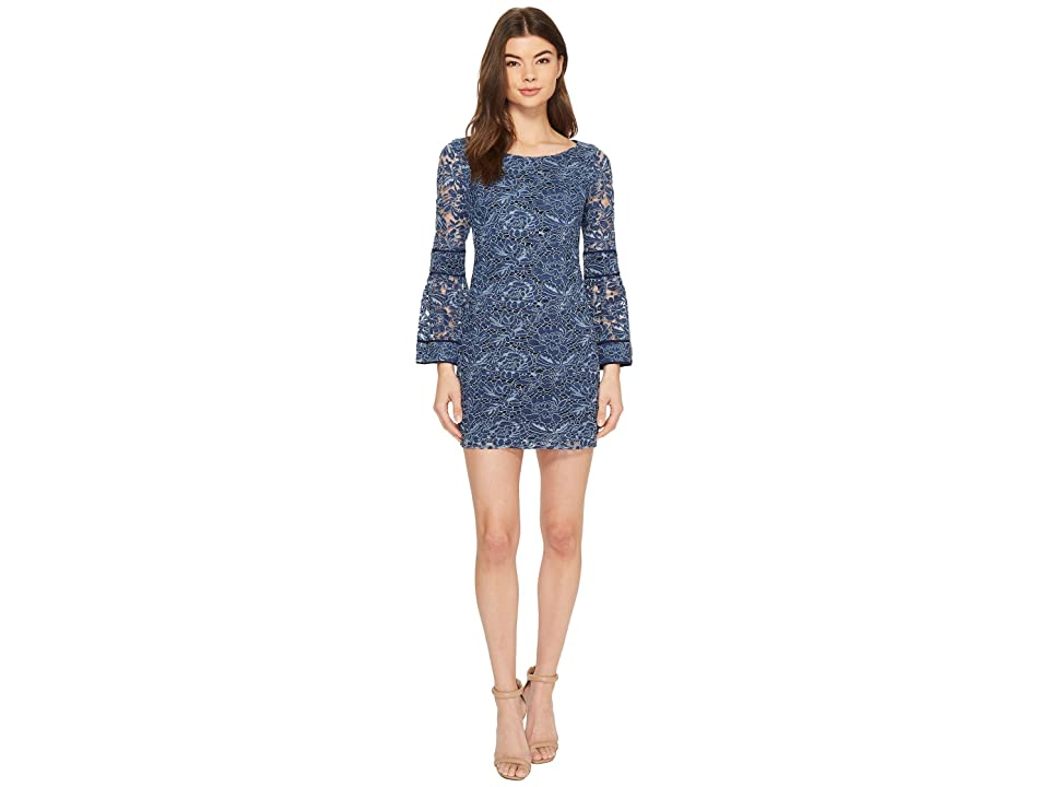 Laundry by Shelli Segal Lace Shift Dress with Bell Sleeves (Midnight) Women
