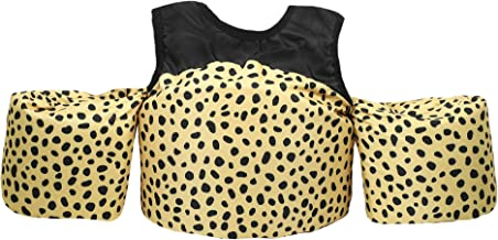 Little Fin Swimmer Float Vest for Pool, Black, Tan, Cheetah Print, Kids Life Jacket from 30 to 50lbs, Toddler Swim Vest with Arm Wings Girls Zara Swimmer