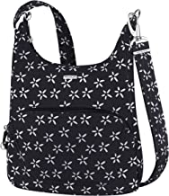 Travelon Anti-Theft Classic Essential Messenger Bag (One Size, B/W Small Flower Print)
