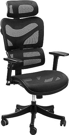 符合人体工程学的网状办公椅 - SIEGES 可调节头枕,3D 翻转扶手,后背腰支撑,高背电脑桌面任务执行椅,黑色