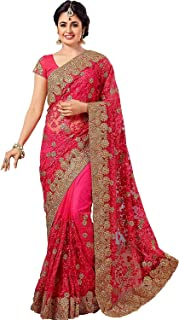 PYXBE Women's Net Saree With Unstitched Blouse Piece (ZohariPink.PXB-2020_Pink)