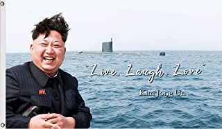 Kim Jong Un Live Laugh Love Flag Funny Flags for College Dorm Cool Meme Banner Awesome Poster for Room Teens Student Wall ...