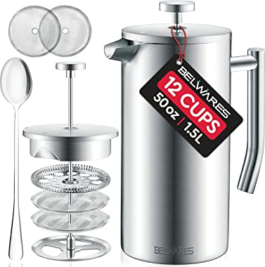 Large French Press Coffee Maker - 50oz, 1.5L Double Wall 304 Stainless Steel Coffee Press - 4 Level Filtration System with 2