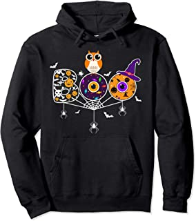 Boo Halloween Design with Spiders, Bats, Owl and Witch Hat Pullover Hoodie